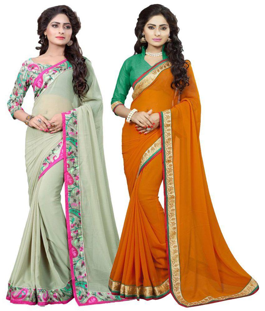 Om Krishna Sarees Multicolour Georgette Pack of 2