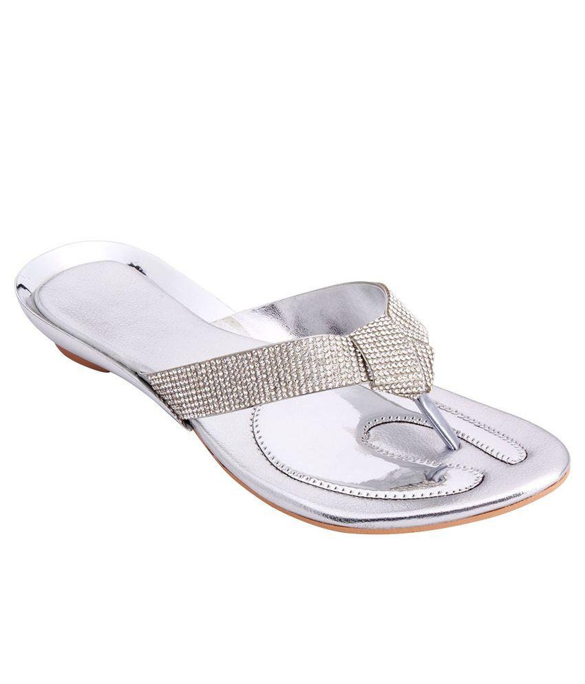 iAnna Silver Block Heeled Slip-Ons