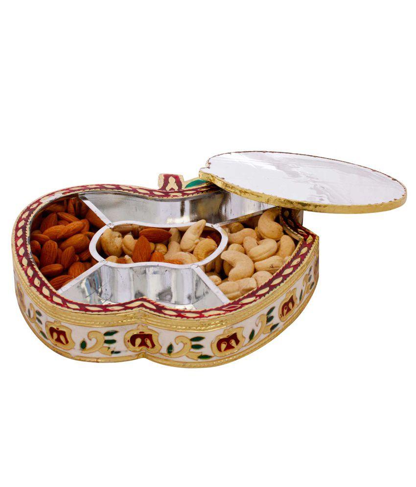 Pioneerpragati Golden Meenakari Work Apple Design Dryfruit Box