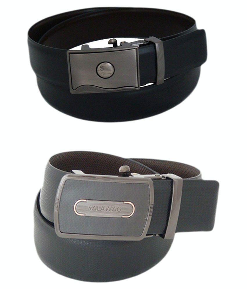 SFA Black And Brown Reversible Belt For Men - Pack Of 2