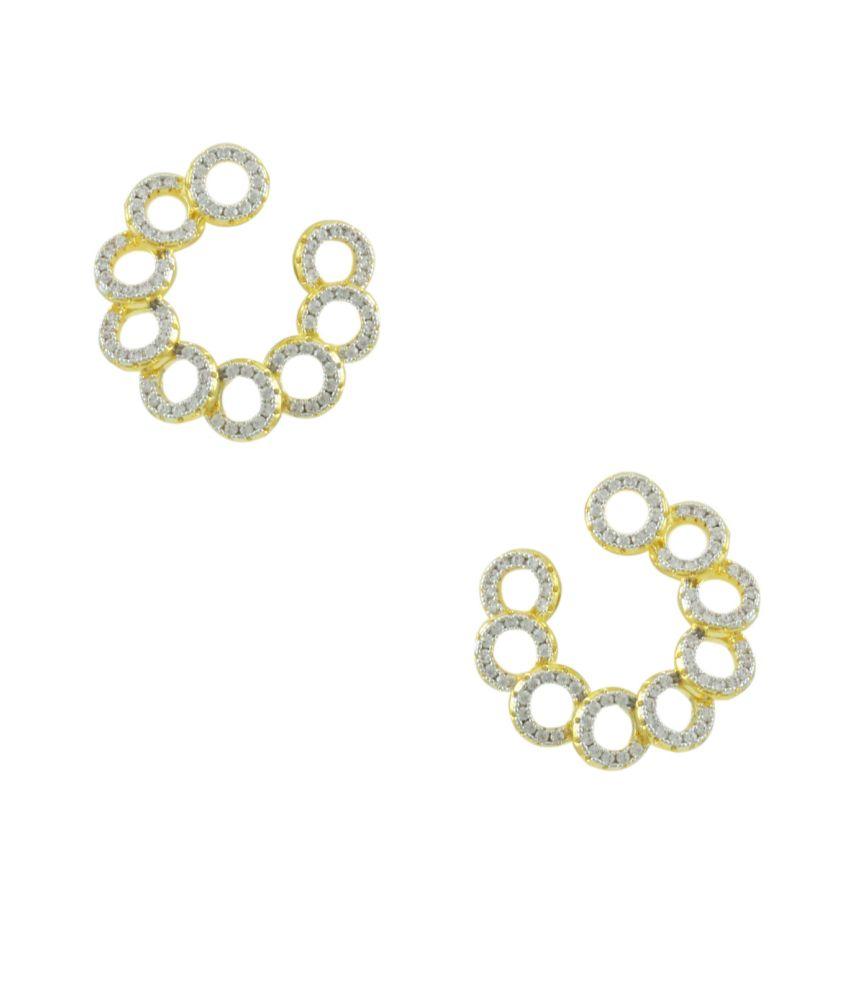 Orniza Golden Brass Stud Earrings