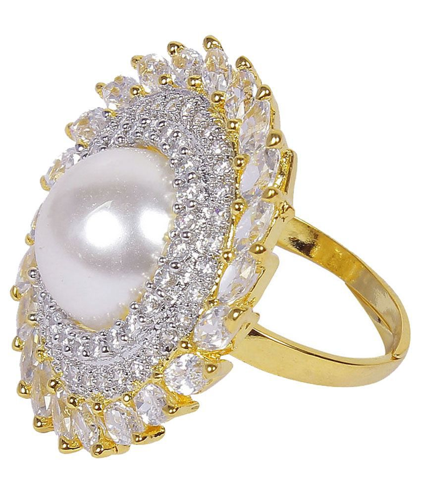 Much More Ethnic Gorgeous Design Cz-Stone Finger Ring Gold Plated ...