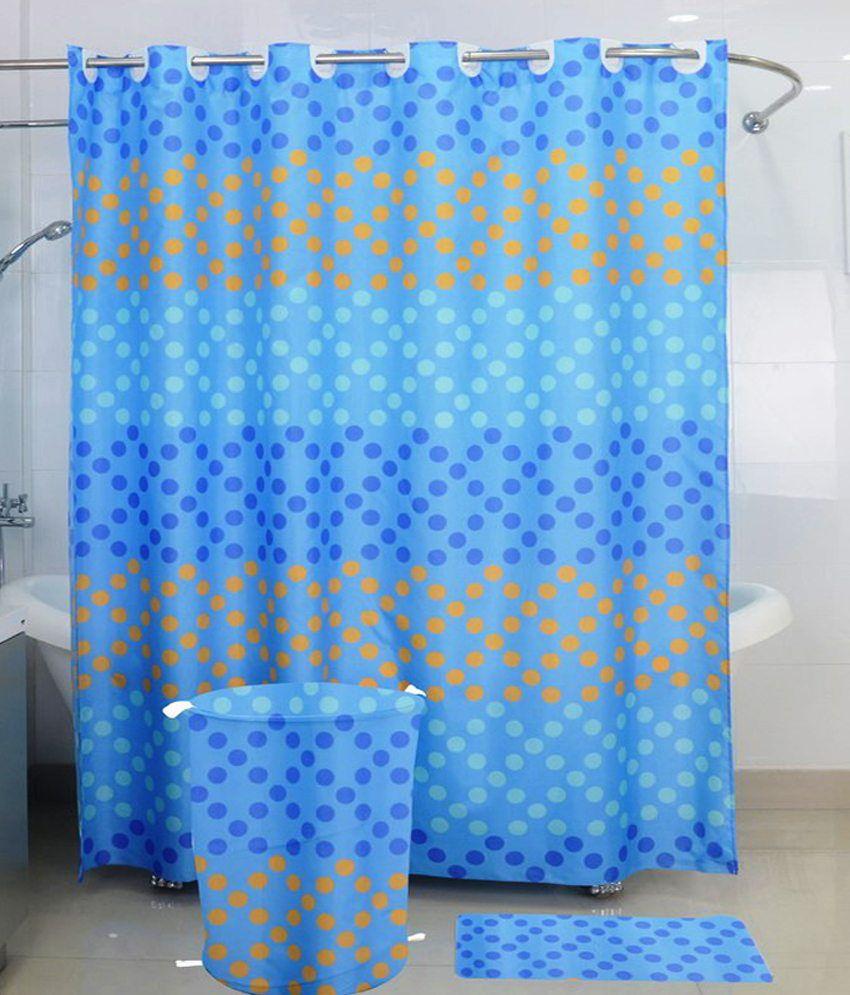 Skap Blue Polyester Shower Curtain Buy Skap Blue Polyester Shower Curtain Online At Low Price