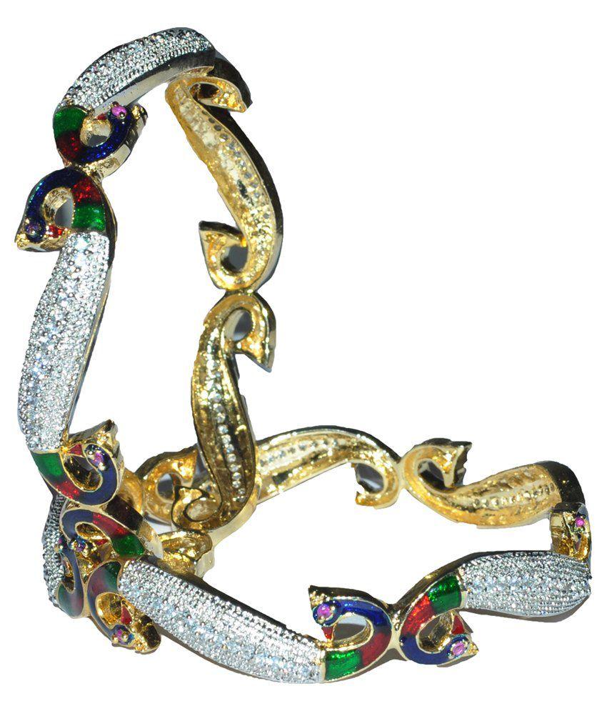 Devi Bhagwati Dynamic Jwellers Multicolor American Diamond Bangles