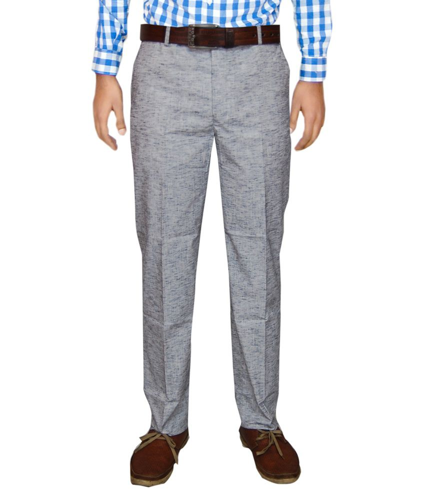 Le Meiux Grey Regular Fit Formal Flat Trouser