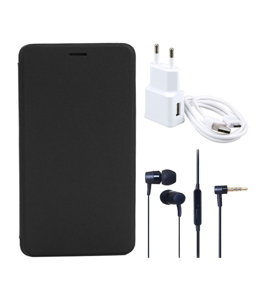 Romito Flip Cover For Lava Iris Selfie 50- Black With USB Mobile Charger And Handfree Earphone