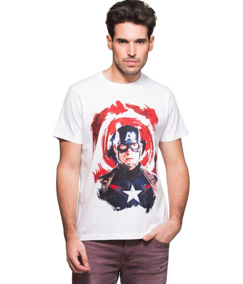 Zovi White Cotton Captain America Graphic Marvel T-shirt