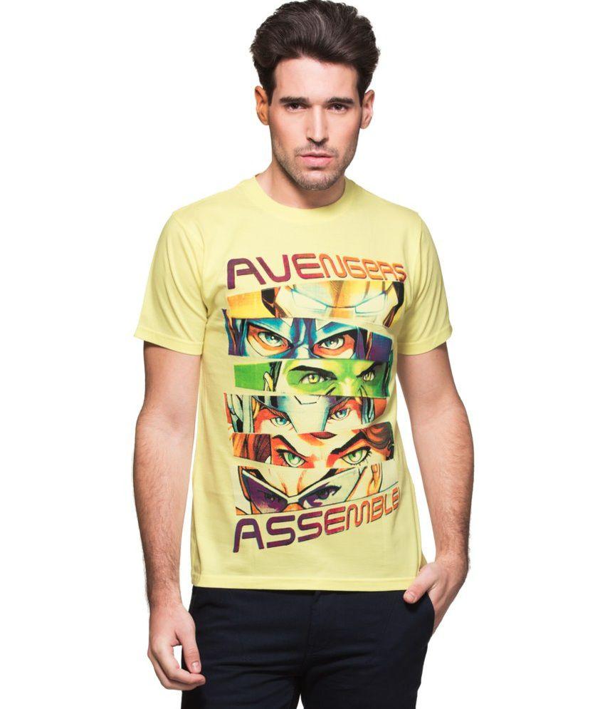 Zovi Yellow Cotton Avengers Assemble Graphic Marvel T-shirt