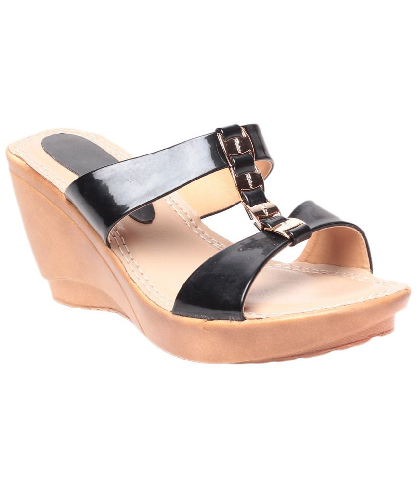 STEPpings Black & Beige Wedge Slip Ons