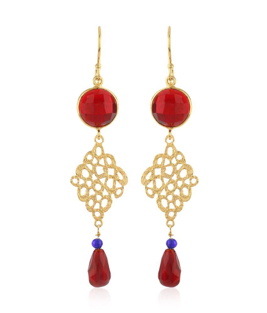Thingalicious Lattice Allure Long Gold Earrings