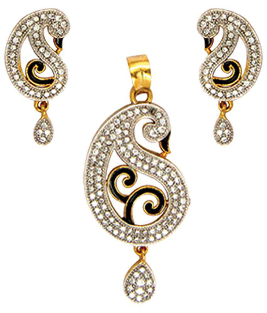 Anjali Jewellers Golden & Black American Diamond Pendant Set: Buy ...