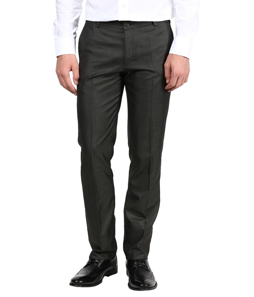 Bukkl Green Poly Viscose Slim Fit Formal Trouser
