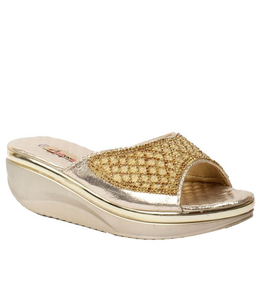 Foot Candy Gold Heeled Slip Ons