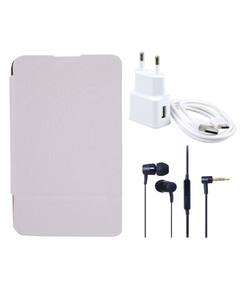 Romito Flip Cover For Samsung Galaxy Core I8262- White With USB Mobile Charger And Handfree Earphone
