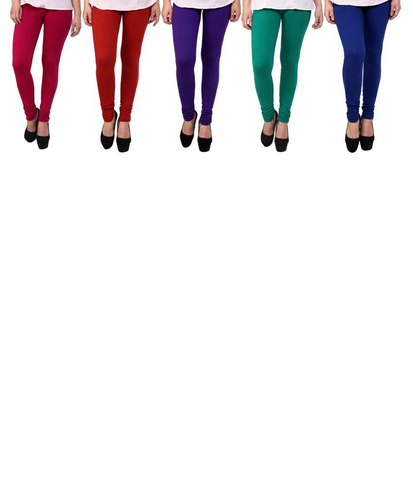 Stylobby Combo Of 5 Leggings For Girls
