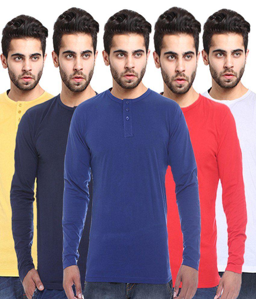 X-cross Multicolour Full Sleeves Basic Wear T-shirt - Pack Of 5