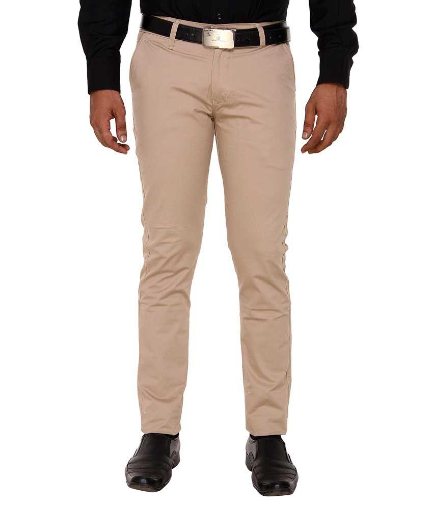 Hideouts Beige Slim Fit Formal Flat Trousers