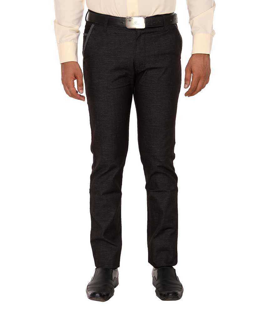 Hideouts Black Slim Fit Formal Flat Trousers