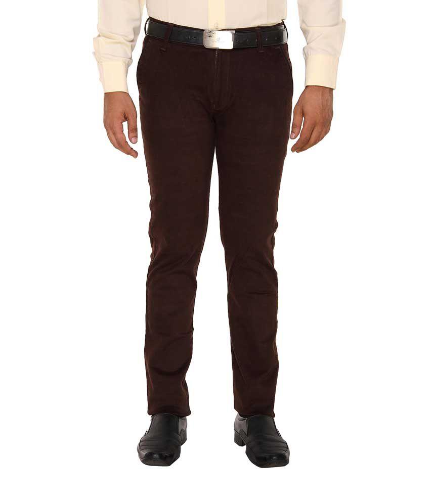 Hideouts Brown Slim Fit Formal Flat Trousers