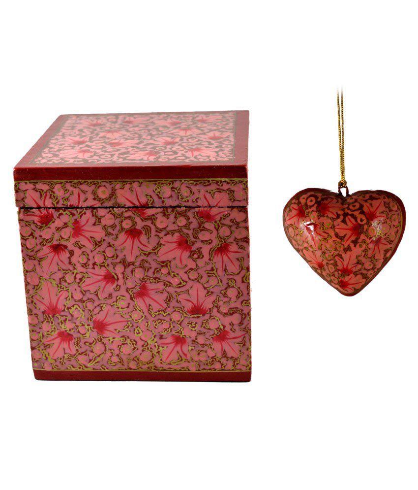 Craftuno Multicolour Paper Mache Box And Heart Set
