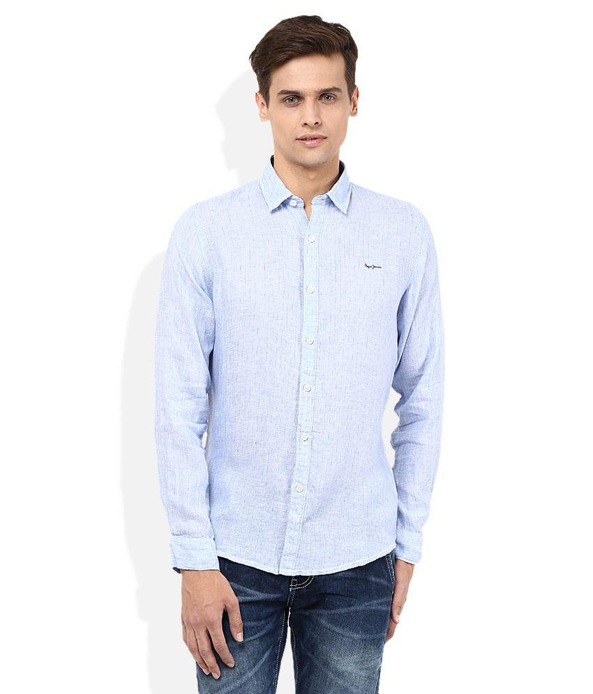 Pepe Jeans Blue Regular Fit Casual Linen Shirt
