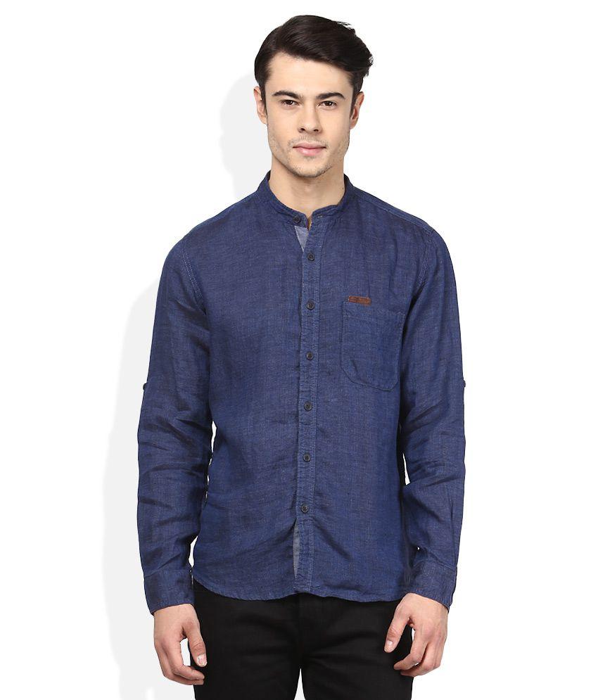 Pepe Jeans Navy Regular Fit Casual Linen Shirt