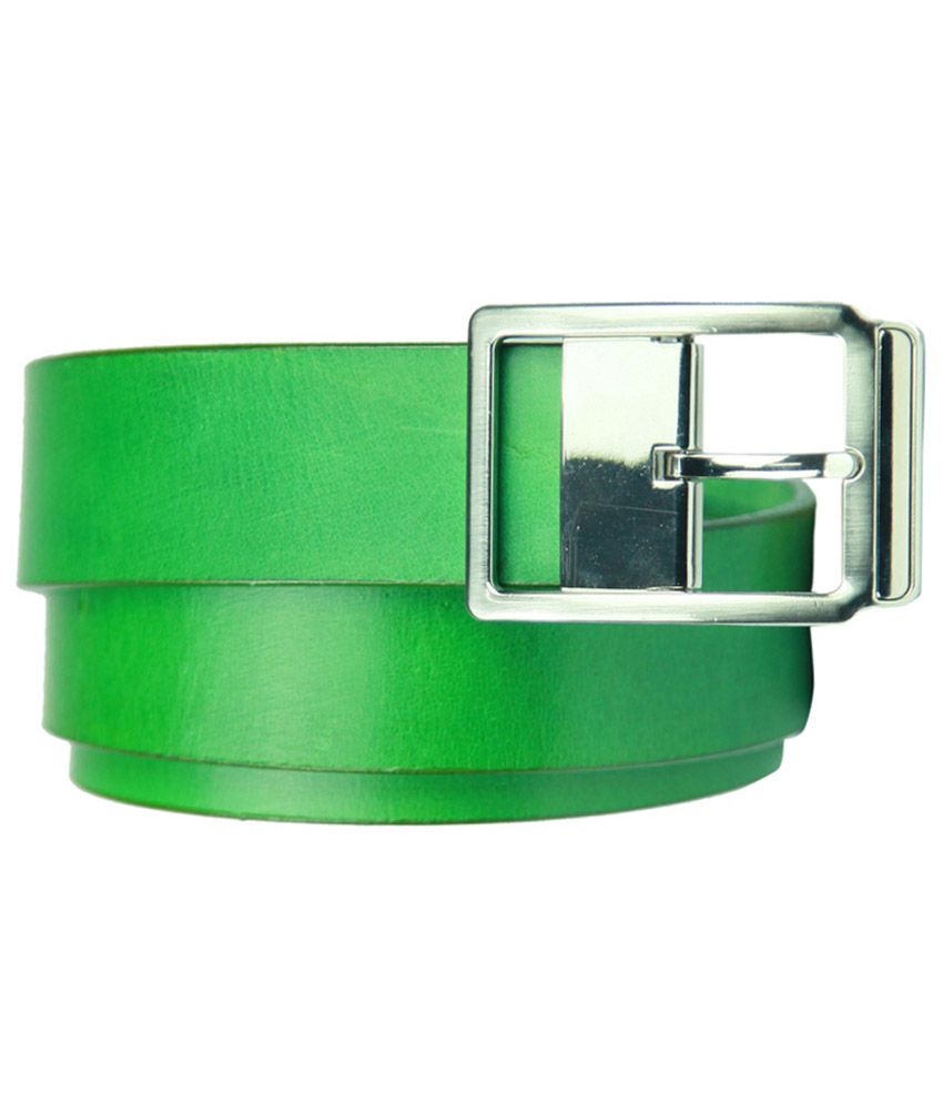 99cells Casual Green Genuine Leather Unisex Belt