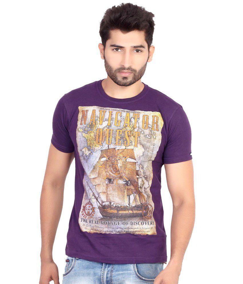 Firstribe Purple Cotton T-Shirt