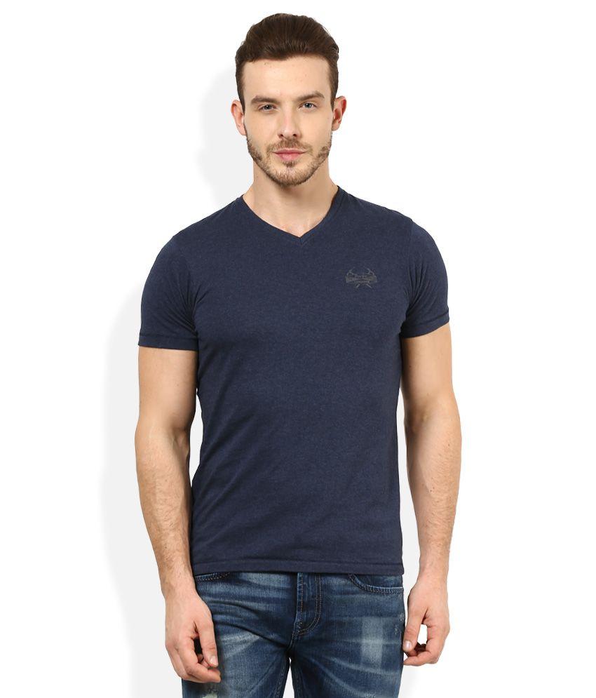 Pepe Jeans Navy V-Neck Half Sleeves Basics T-Shirt