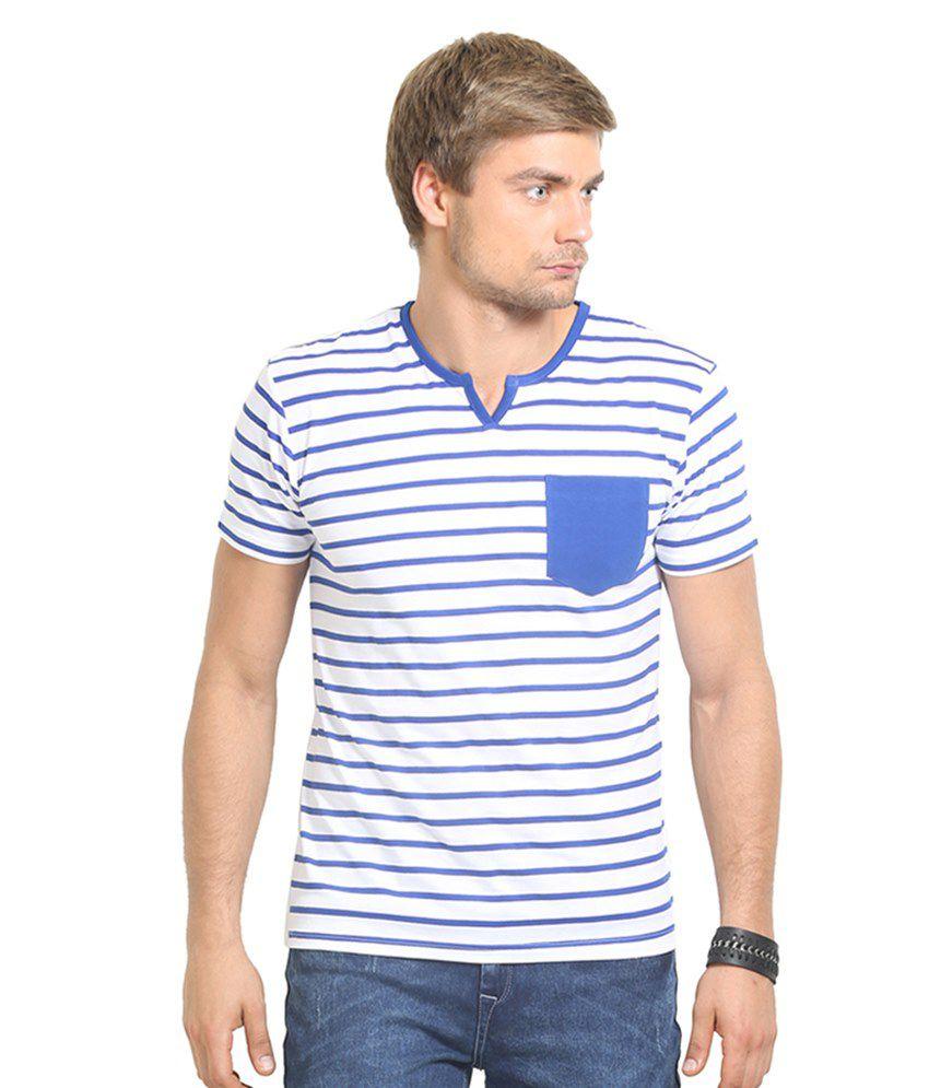 Thisrupt Blue & White Cotton T-Shirt