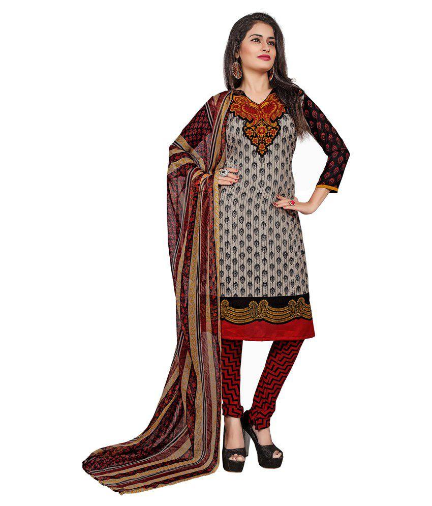 Khushali Gray Art Crepe Unstitched Dress Material