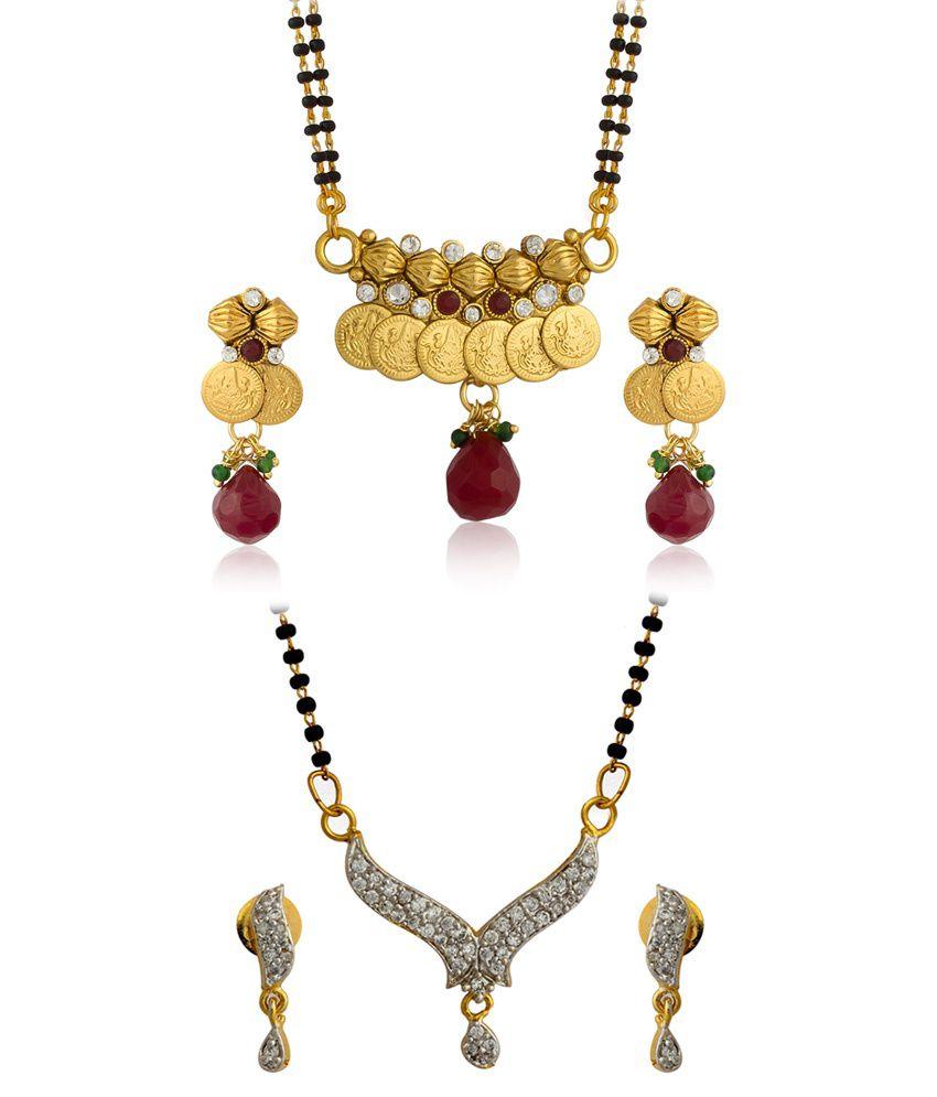 The Luxor Golden Alloy American diamonds Mangalsutra set