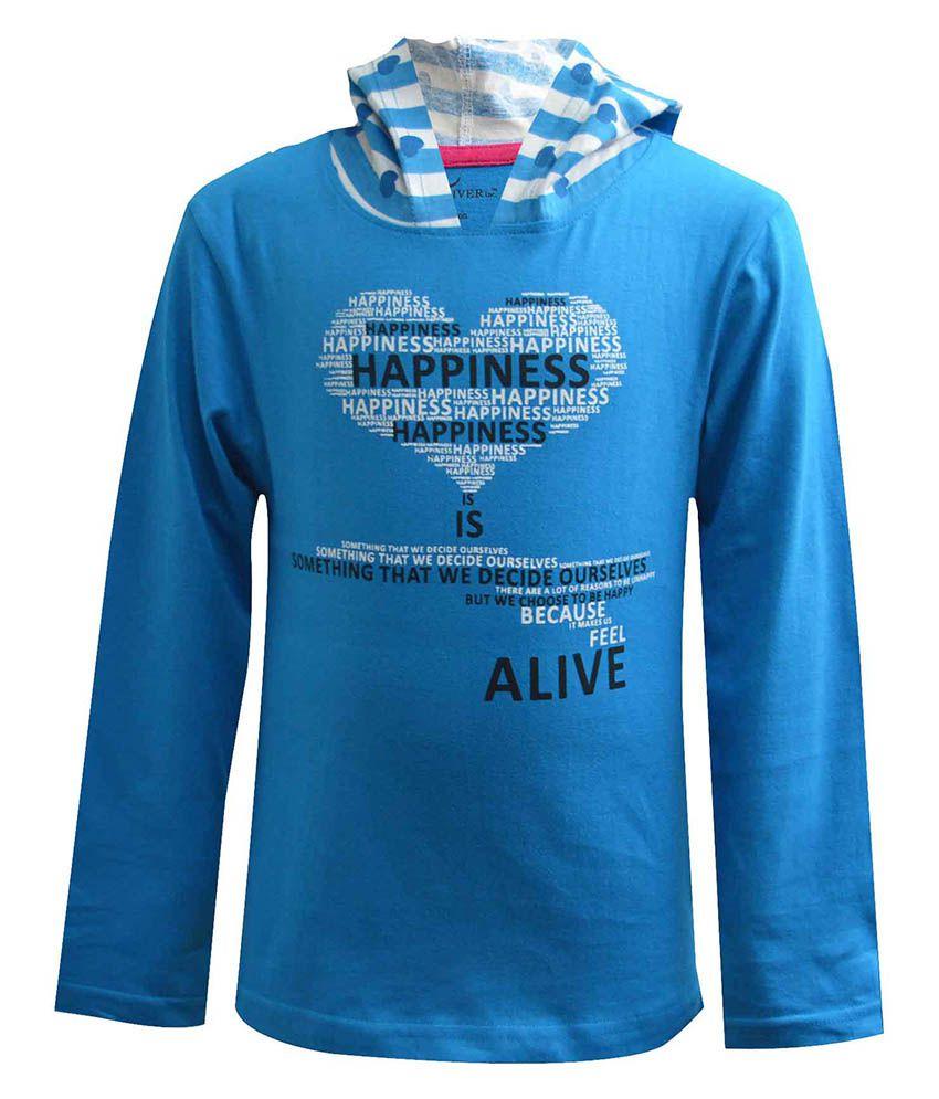Blueriver Blue Hooded Sweatshirt For Girls