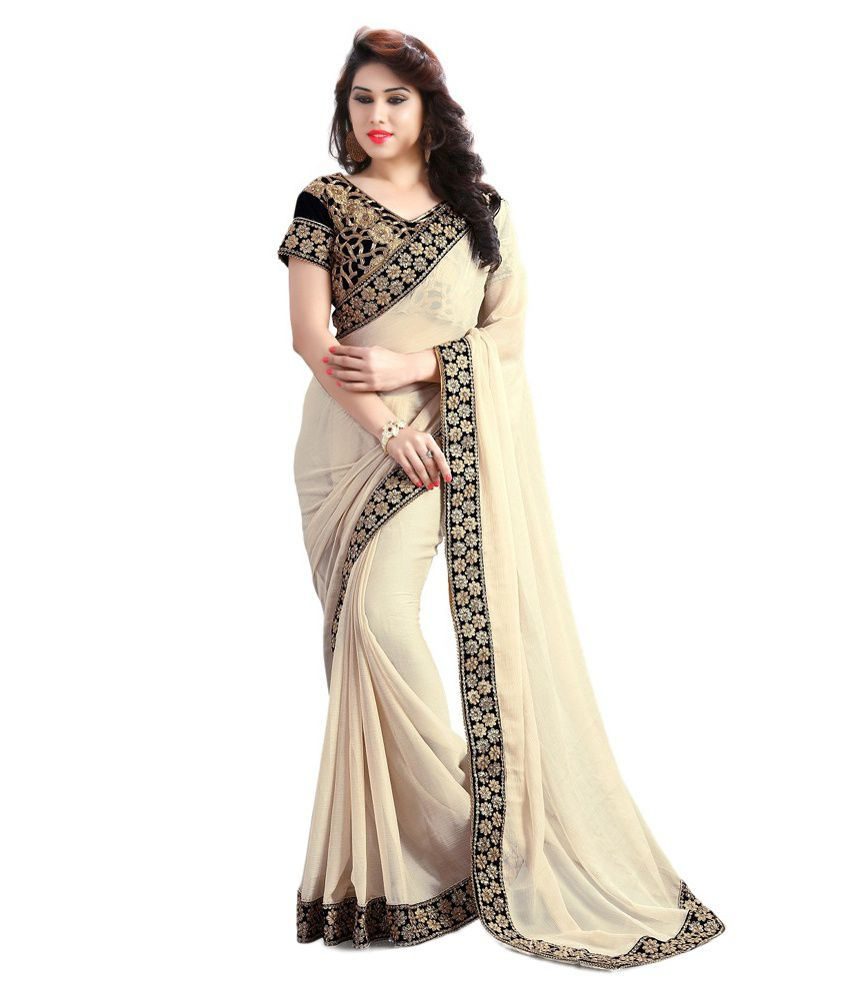 Ethinic Elagance Sarees!! Upto 70% + Extra 15% off On Sarees By Snapdeal | Kuki Beige Georgette Saree @ Rs.1,311