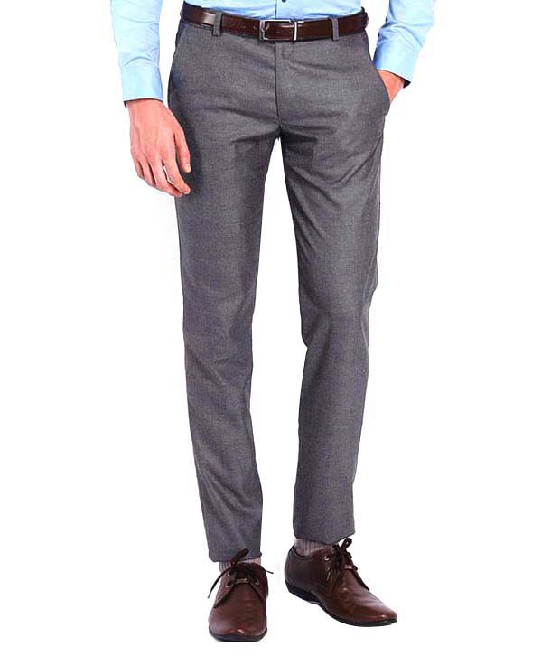 AD & AV Grey Regular Fit Formals Flat Trousers