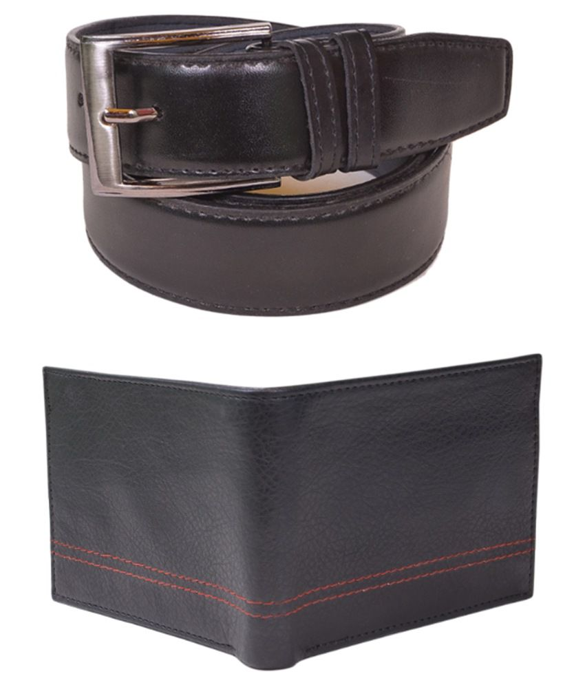 Daller Black Casual Belt With Wallet Combo For Men