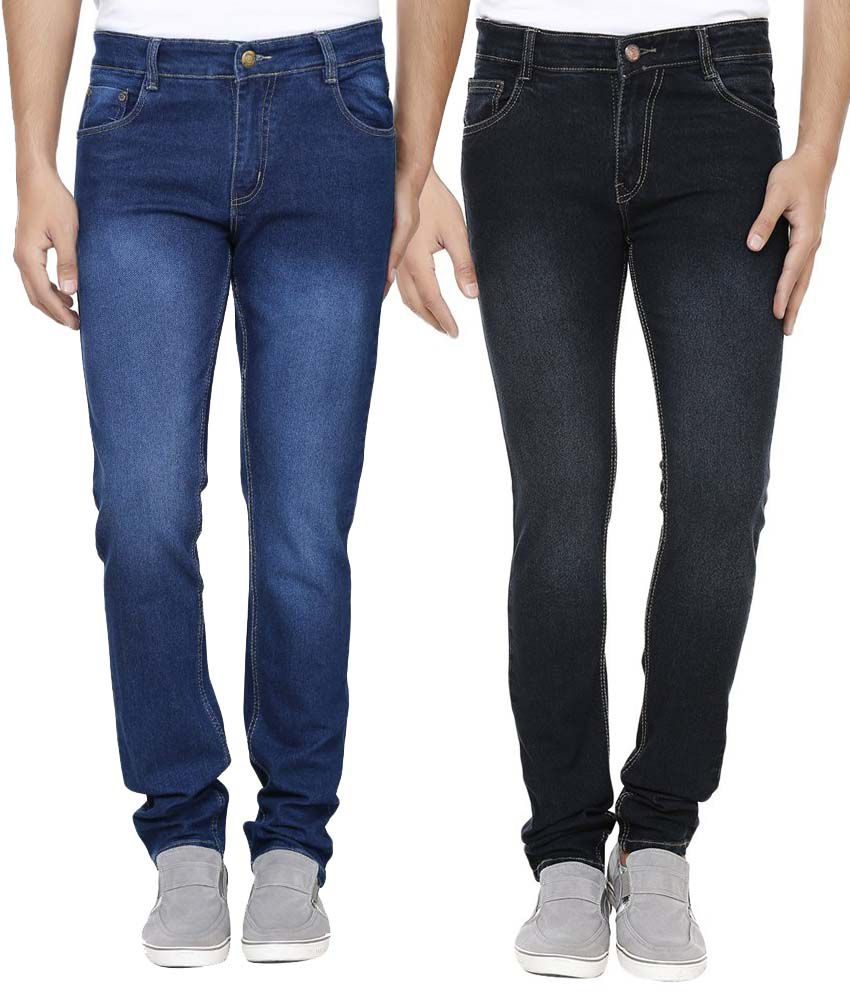 Ansh Fashion Wear Black and Blue Regular Fit Jeans - Pack of 2