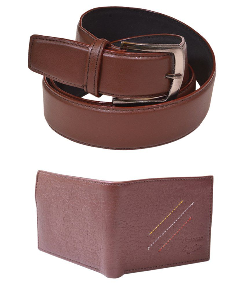 Daller Combo Of Brown Casual Belt & Wallet For Men