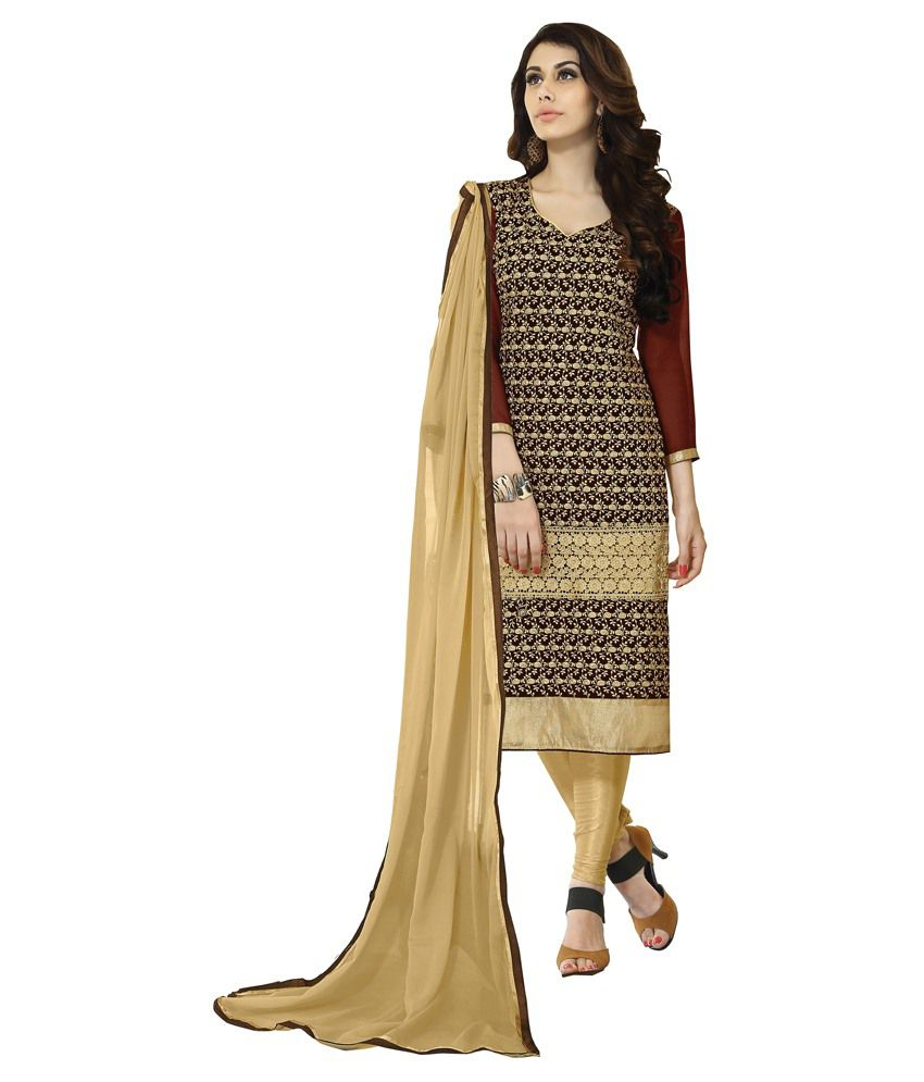 Khoobee Brown Art Silk Unstitched Dress Material