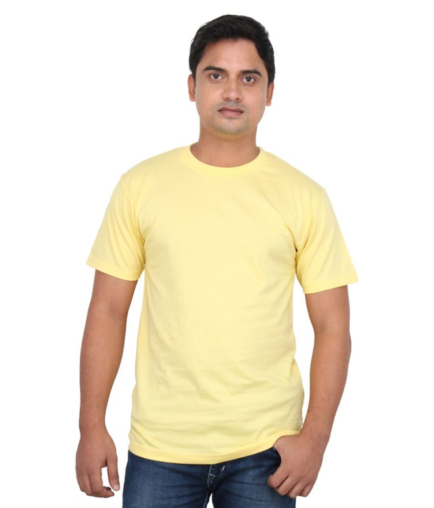 Loox By Apoorti Yellow Plain Cotton T-Shirt