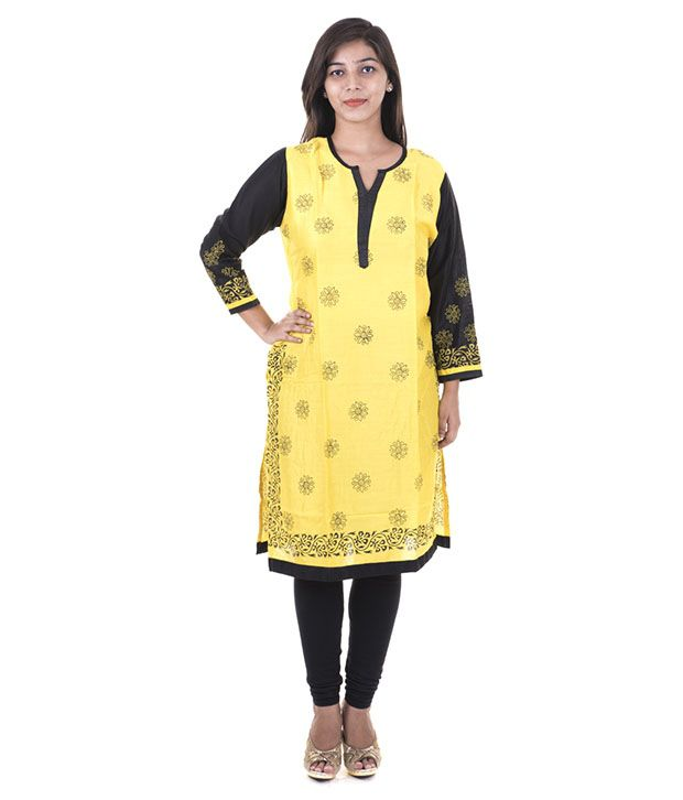 Sparrow Fashion Yellow Poly Rayon Kurti