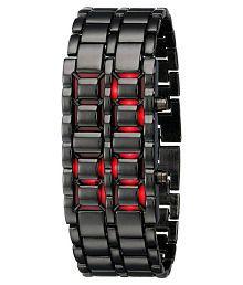 Jm LED Metallic Digital Watch-Black