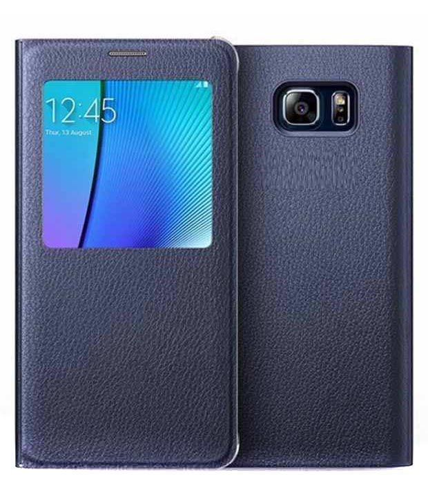 Mobicloths Leather Flip Cover For Samsung S6 Edge Plus - Blue