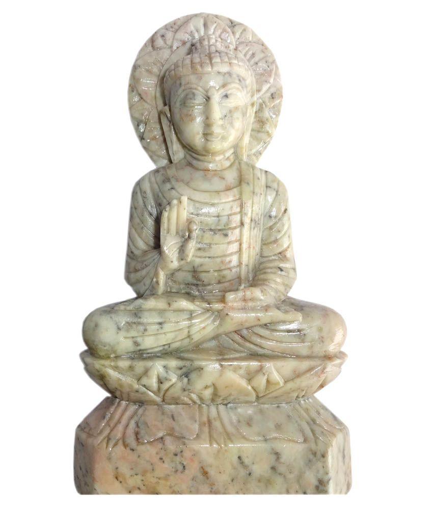 Bbcartncrafts Glossy Marble Lord Bhuddha Idol