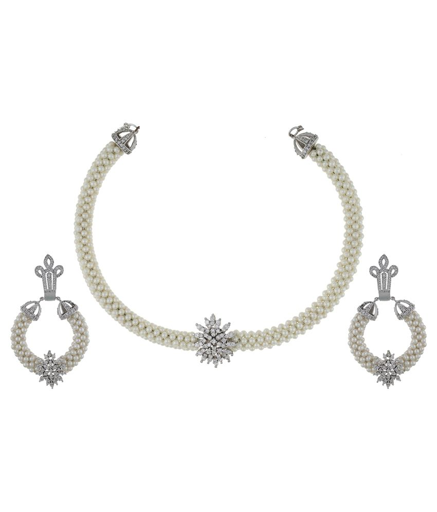 Chaahat Fashion Jewellery Traditional White Pearl Necklace Set
