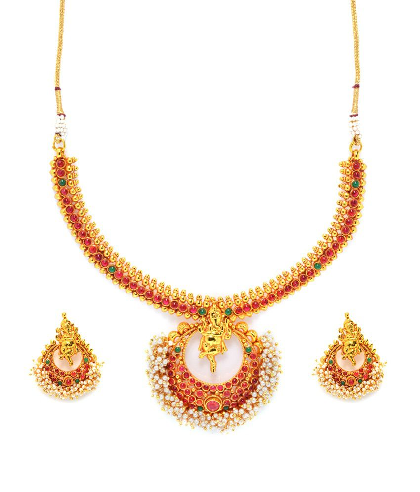 Henisha Gold Copper Traditional Necklace Set