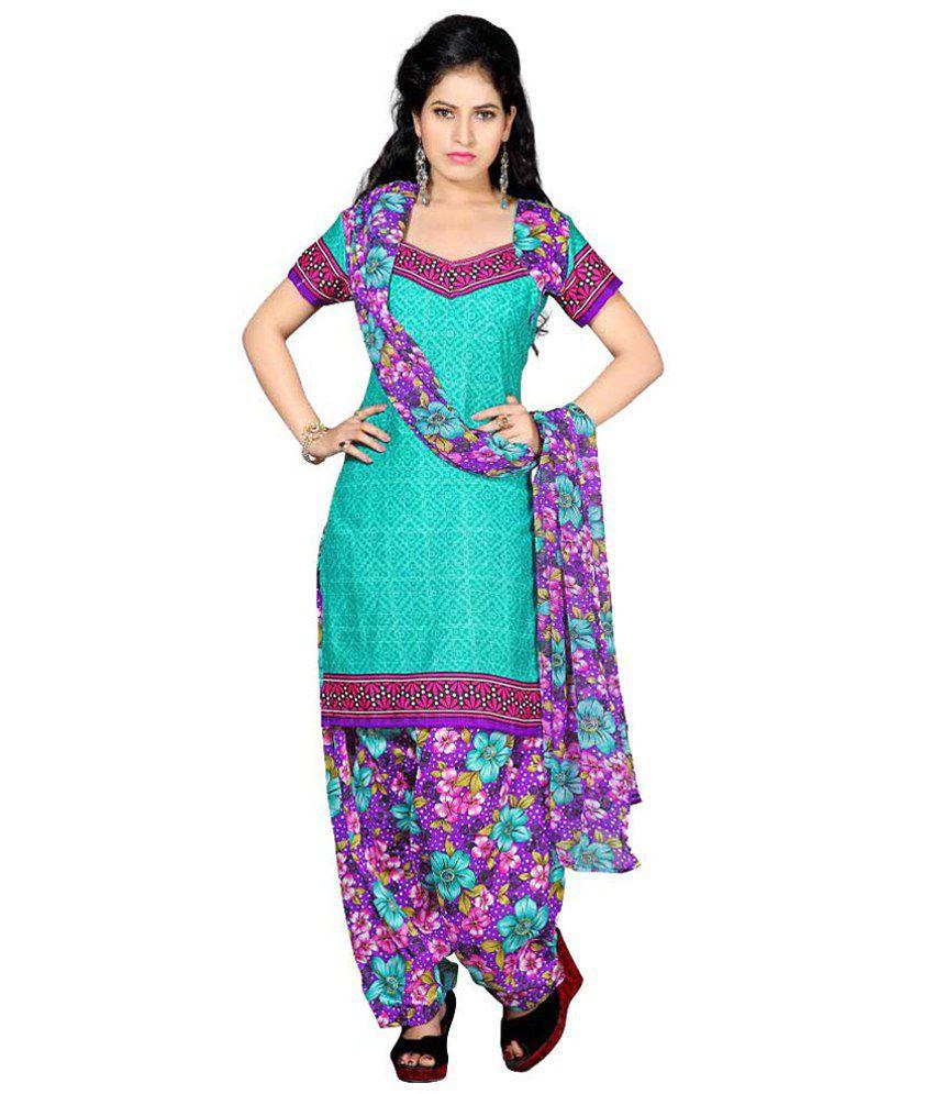 Pratibimb Green Cotton Semi Stitched Dress Material