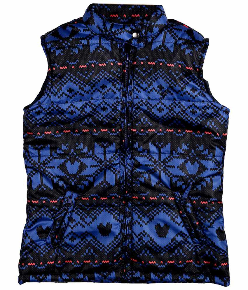 Allen Solly Blue & Black Sleeveless Quilted Jacket