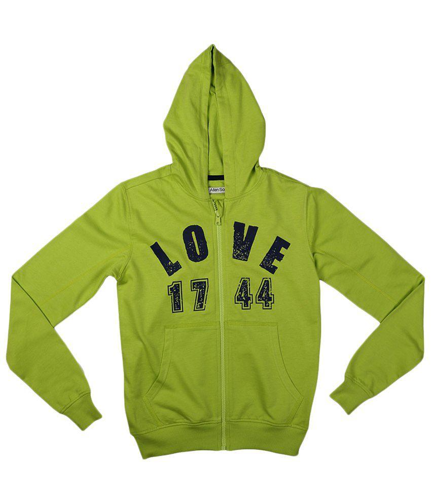 Allen Solly Green & Black Zippered Hooded Sweatshirt