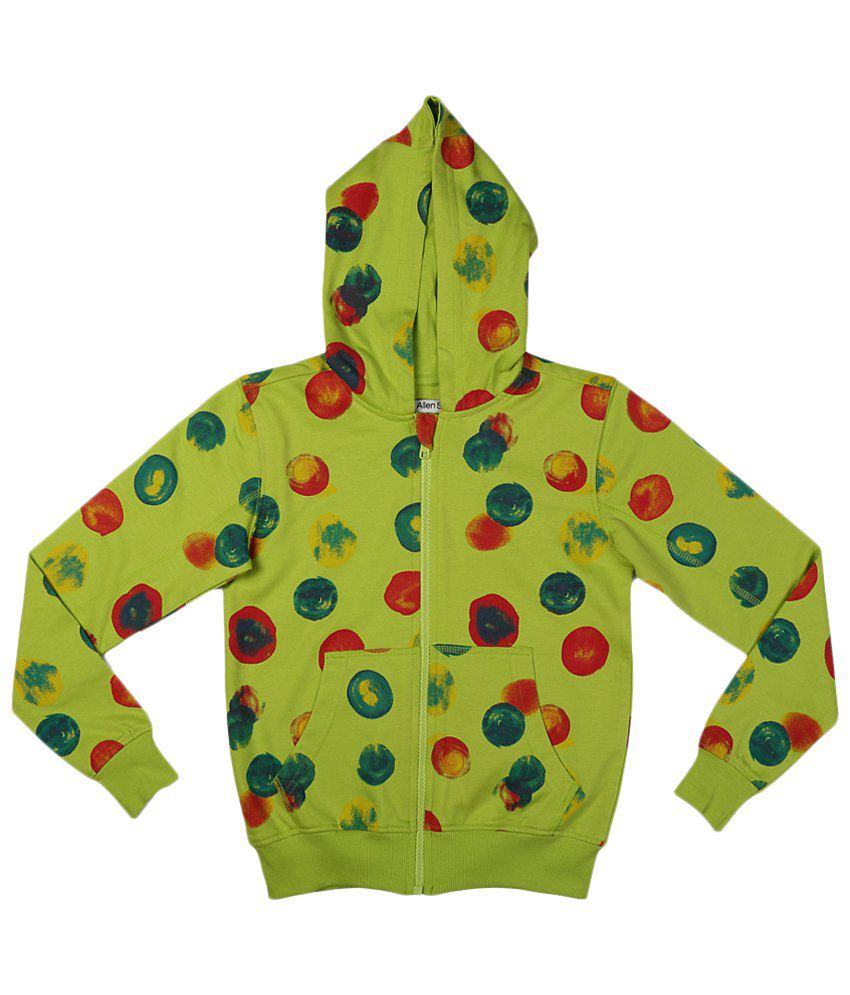 Allen Solly Green & Red Zippered Hooded Sweatshirt